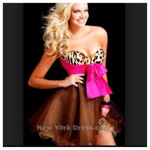 Sherri Hill Leopard and Fuchia Party Dress